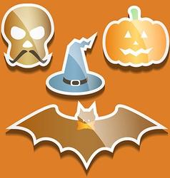 Flat scull pumpkin hat and bat vector