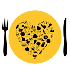 foods heart on plate vector image vector image