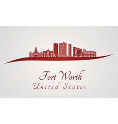 Fort Worth skyline in red vector image