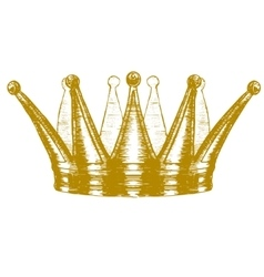 Gold crown hand draw sketch vector