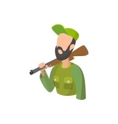 Hunter holding gun cartoon icon vector