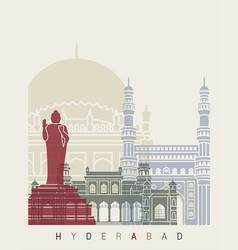 hyderabad skyline poster vector image vector image
