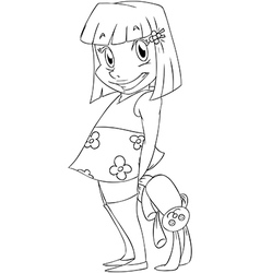 Little girl with rabbit doll coloring page vector