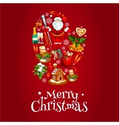 Mitten symbol with christmas icons vector