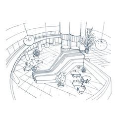 modern interior shopping center mall top view vector image vector image