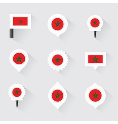 Morocco flag and pins for infographic and map vector