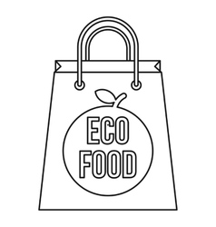 Paper bag with the inscription eco food icon vector