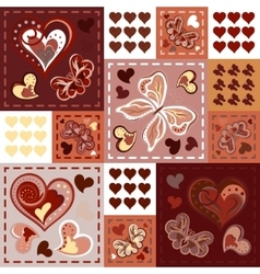Patchwork colorful with hearts and butterfly vector image