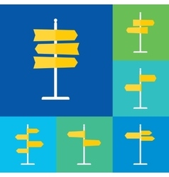 Road Sign Flat Icons Set vector image