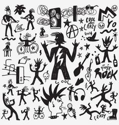 Rock music doodles vector