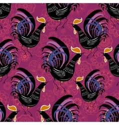 Seamless pattern with color fire cock on line art vector image