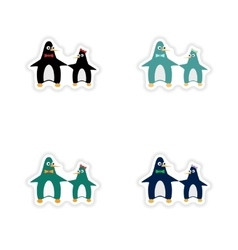 Set of paper stickers on white background penguins vector