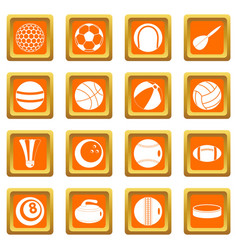 sport balls icons set orange vector image vector image