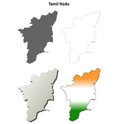 Tamil nadu blank outline map set vector