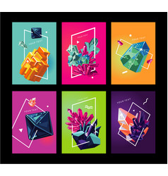 Trendy poster collection with crystals abstact vector