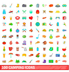 100 camping icons set cartoon style vector