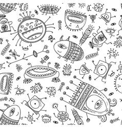 Ethnic ornamental cute monsters seamless pattern vector