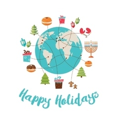 Merry christmas and happy hanukkah global vector