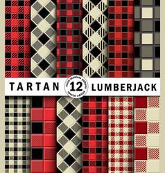 3d set lumberjack tartan seamless patter vector image