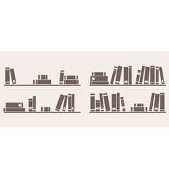 Book on shelf icon set bookshelf school objects vector