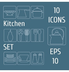 Kitchen set icons vector