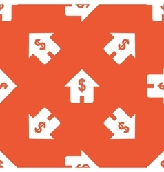 Orange dollar house pattern vector