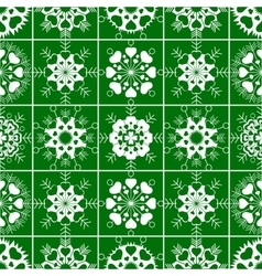 Seamless pattern of heart view snowflakes winter vector