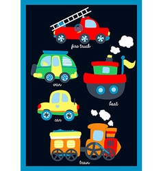 Cute little vehicles on a navy background vector
