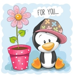 Penguin with flower vector