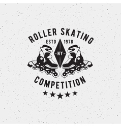 Retro vintage roller skating label vector