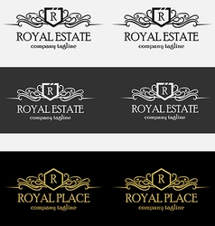 Heraldic royal luxurious crest logos vector