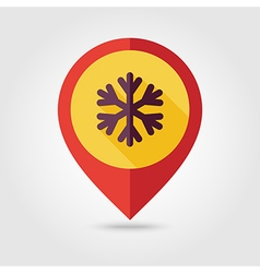 Snowflake snow flat pin map icon weather vector