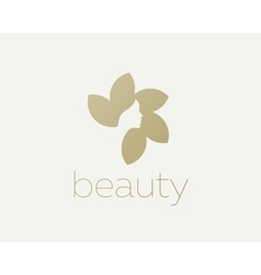 Beautiful woman face flower star logo design vector