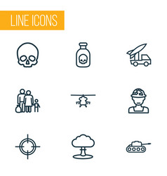 Army outline icons set collection of venom vector