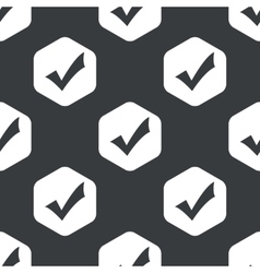 Black hexagon tick mark pattern vector image