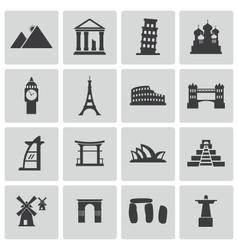 Black landmark icons set vector