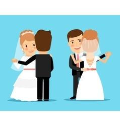 Bride and groom dance vector image