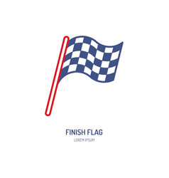 Checkered flags line icon speed automobile vector