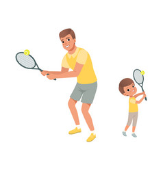 cheerful dad and his son playing in tennis father vector image vector image