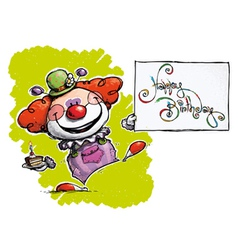Clown holding a happy birthday card vector