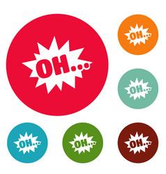Comic boom oh icons circle set vector