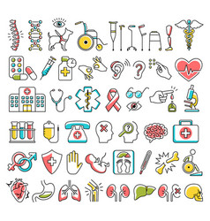 Disability and medical icons signs isolated on vector