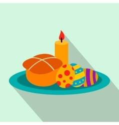 Easter cake with eggs and burning candle flat icon vector