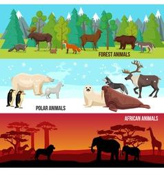 Flat Animal Banners Set vector image vector image