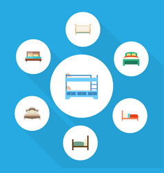 Flat set of bunk bed cot hostel and other vector