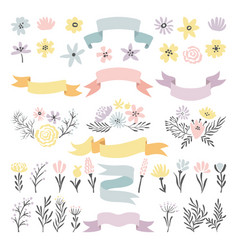 Floral decorative elements flowers vector