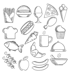 Food and snacks sketch icons vector