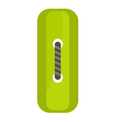 Green rectangle sewing button icon isolated vector