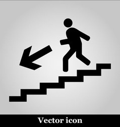 Man on Stairs going down symbol on grey background vector image vector image