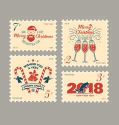 merry christmas and happy new year 2018 retro vector image vector image